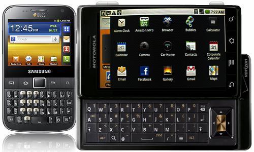 मोटोरोला ड्राएड और सैमसंग गैलेक्सी प्रो स्मार्टफोन
