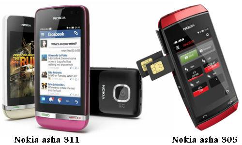 नोकिया ने लांच किए दो नए टच स्क्रीन आशा 311 और 305 फीचर फोन
