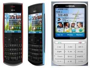 नोकिया का बजट मोबाइल, नोकिया x2-01 और C3-01