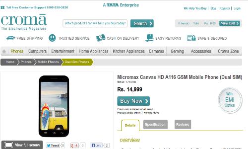 माइक्रोमैक्स कैनवास एचडी 14999 रुपए में क्रोमा आनॅलाइन स्टोर में उपलब्ध