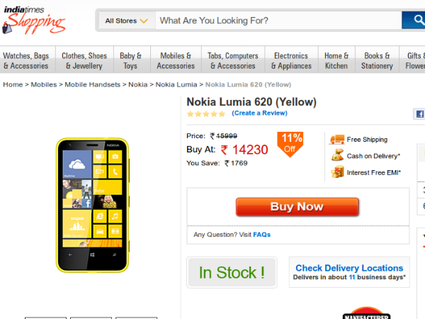 Buy Lumia 620 from Indiatimes Shopping