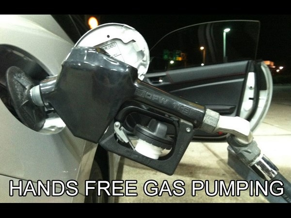 Hands free gas pumping life hack
