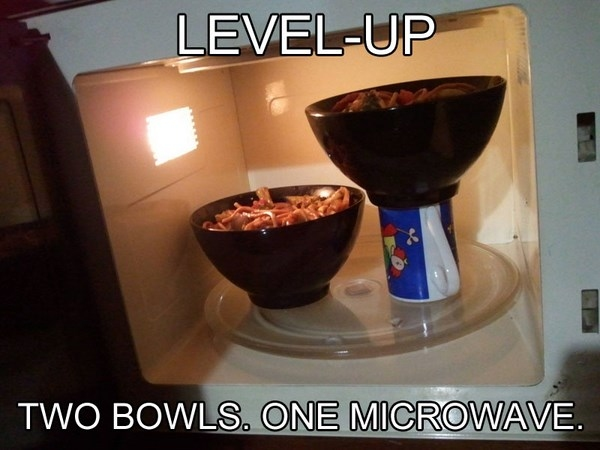 how to fit two bowls into microwave