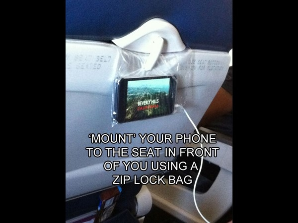 how to hang your phone on a flight