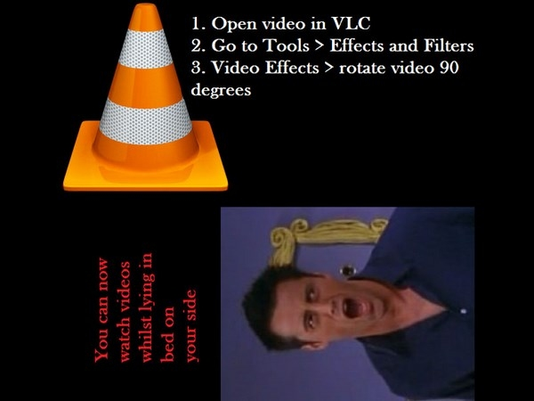 how to rotate video in vlc media player