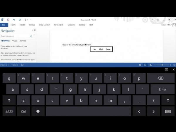 3. Onscreen keyboard swipes