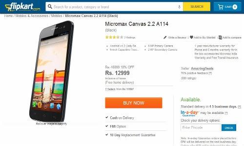 माइक्रोमैक्स कैनवास 2.2 A114 की ऑनलाइन बिक्री शुरु, कीमत 12,999 रुपए