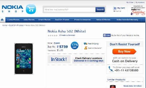 आ गया 5,739 रुपए में नोकिया आशा 502 ड्युल सिम फोन