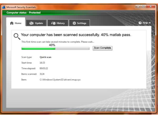 Microsoft Antivirus will stop scanning at 40%