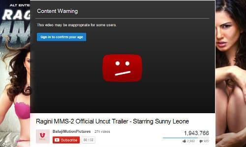 रागिनी एमएमएस-2 के ट्रेलर पर यू-ट्यूब ने लगाई रोक !