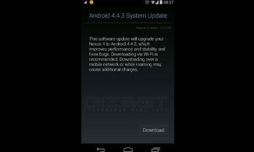 गूगल नेक्सस 4 के लिए आ गया एंड्रायड 4.4.3 किटकैट अपडेट