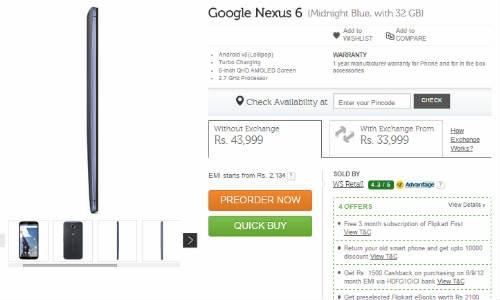 गूगल नेक्सस 6 प्री ऑर्डर में मिलना हुआ शुरु