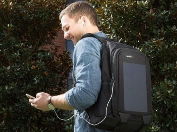 A solar-powered backpack
