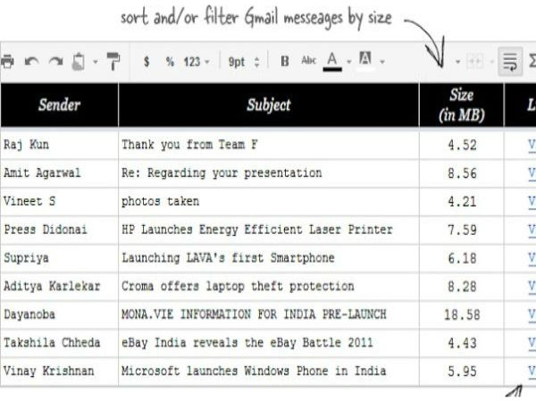 Sort Gmail Messages by Siz