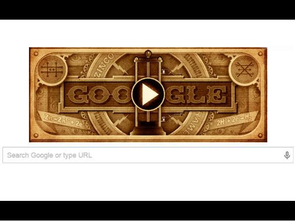 दुनिया को बैटरी का तोहफा देने वाले वोल्टा के सम्मान में गूगल का डूडल