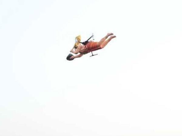 जब आसमान में उड़े ड्रोन वाले हनुमान