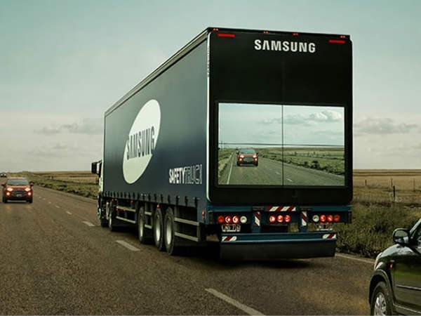 सैमसंग ने ट्रकों में लगाइ बड़ी स्क्रीन, जानिए क्यों