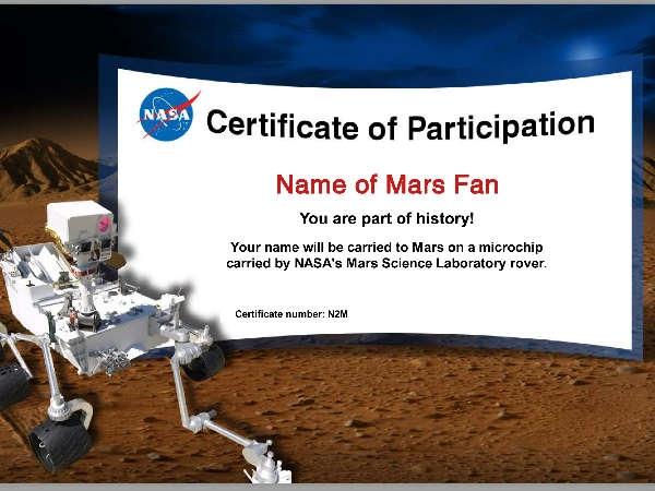 मंगल ग्रह पर भेजें अपना नाम