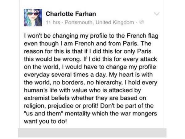 फ़्रांसिसी महिला ने कहा एफबी प्रोफाइल पिक्चर पर नहीं लगाएगी फ्रांस का झंडा