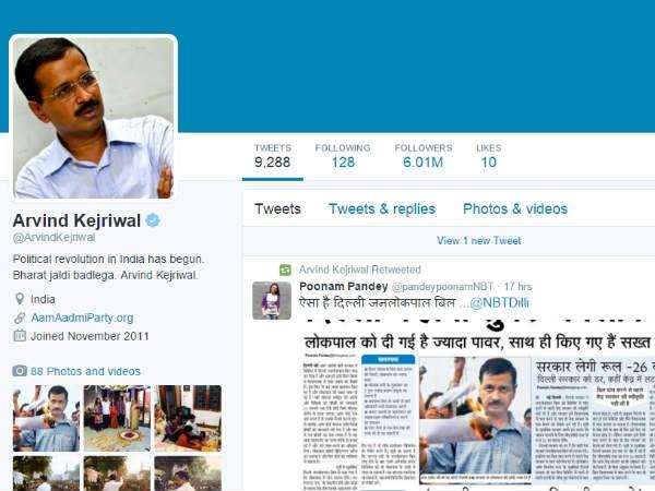 केजरीवाल ट्विटर पर सबसे ज्यादा फॉलो किए जाने वाले दूसरे नेता