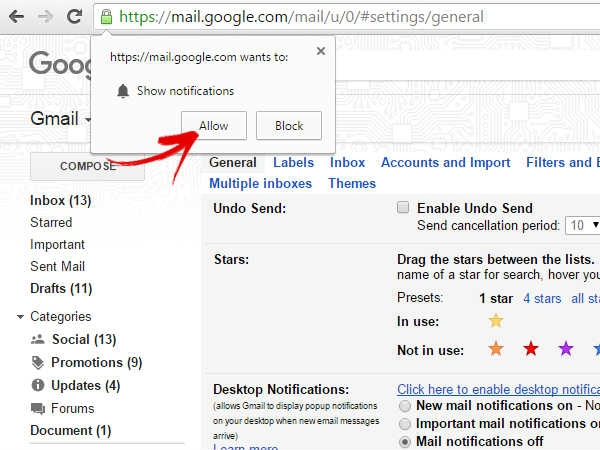 Click here to enable notifications for Gmail