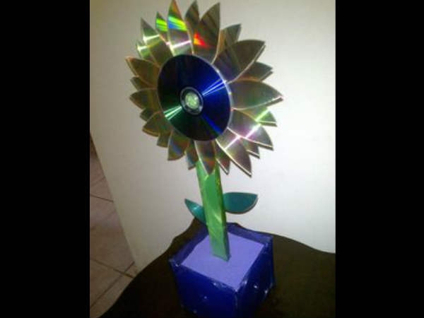 Flower with CDs