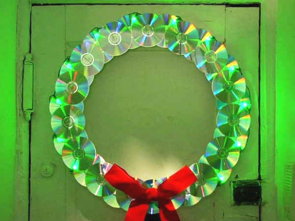 Glowing CDs wreath