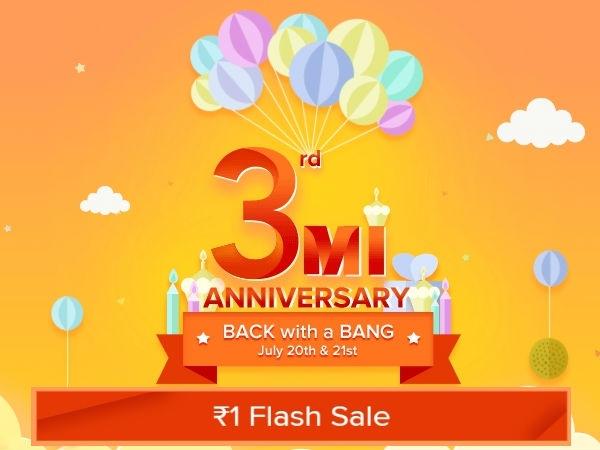 Xiaomi Mi 3rd एनिवर्सरी सेल, 1 रुपए की फ़्लैश सेल
