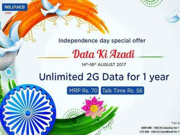 """ये कंपनी 70 रुपए में 365 दिन के लिए दे रही है """"डेटा की आजादी"""""""
