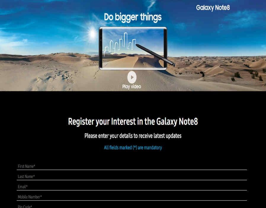 Samsung Galaxy Note 8 का प्री-रजिस्ट्रेशन इंडिया में शुरू