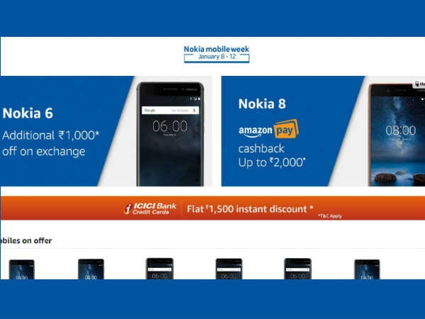 Nokia 6 और Nokia 8 पर Amazon का स्पेशल डिस्काउंट ऑफर
