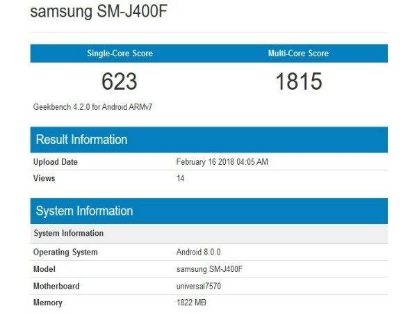 Samsung Galaxy J4 गीकबेंच पर लिस्ट, ये होंगे फीचर्स
