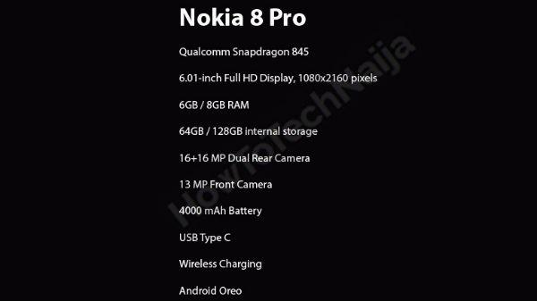 Nokia 8 Pro के स्पेक्स लीक, 8GB रैम व 16MP डुअल कैमरा होगा इसमें