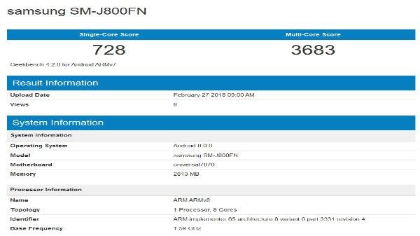 Samsung Galaxy J8 में होंगे ये फीचर्स, बेंचमार्क साइट पर लिस्ट