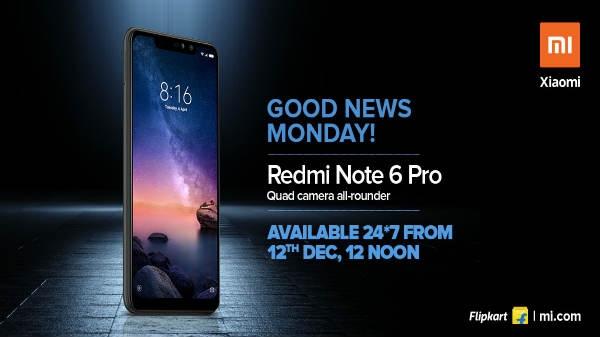 Redmi Note 6 Pro की ओपन सेल 12 दिसंबर से होगी शुरू