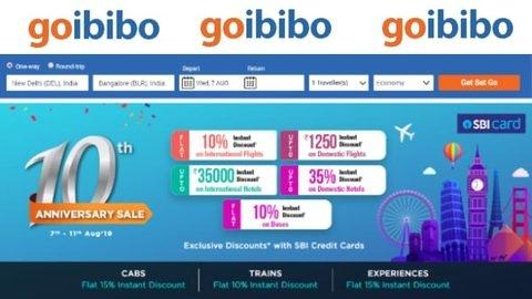 Goibibo 10th Anniversary sale: 11 अगस्त तक 35,000 रुपए तक का ऑफर्स उपलब्ध