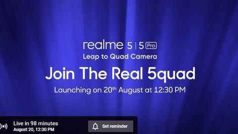 Realme 5 और Realme 5 Pro कुछ देर बाद होंगे लॉन्च, यहां देखें लाइव इवेंट