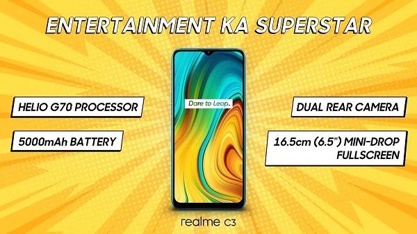 Realme C3 भारत में हुआ लॉन्च, कम कीमत में 5,000 mAh की बैटरी से लैस