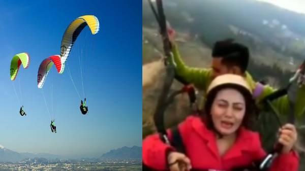 पैराग्लाइडिंग करते वक्त एक महिला का डर देखकर हंसते रह जाएंगे आप, वीडियो हुआ वायरल