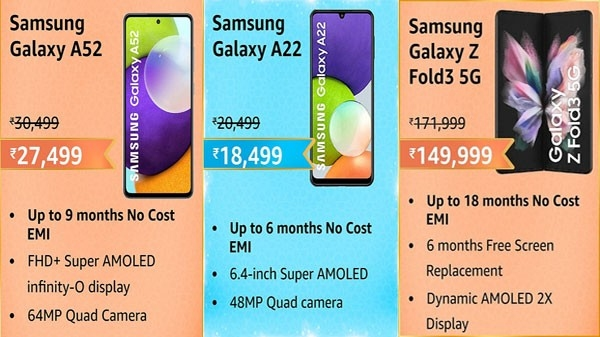 Huge discounts are available on Samsung smartphones at the Amazon Great Indian Festival