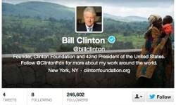बिल क्लिंटन के ट्विटर पर 4 लाख फॉलोवर