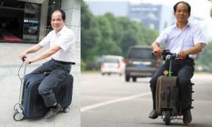 चीनी युवक ने सूटकेस से बनाया स्कूटर